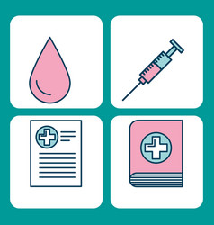 Set of medical medicine science theme icons vector