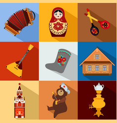 set russia travel colorful flat icons russian vector image
