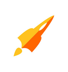 simple orange rocket air plane symbol design vector image