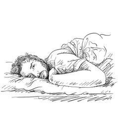 Sketch of handsome bearded man laying in bed vector