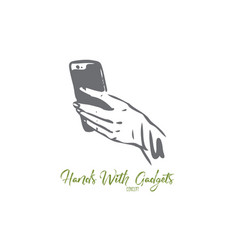 smartphone hand screen finger mobile concept vector image