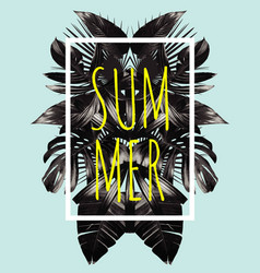 summer black leaves mirror vector image