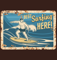 surfing metal plate rusty surfer surfboard waves vector image