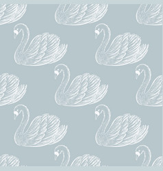 Swan pair seamless pattern hand drawn vector