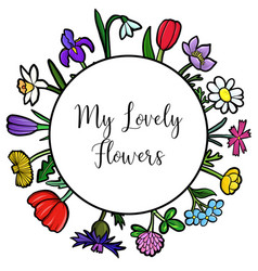 Template with flowers vector