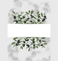 template with olive brunches on marble vector image