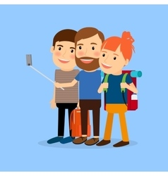 Traveling family cartoon character vector image