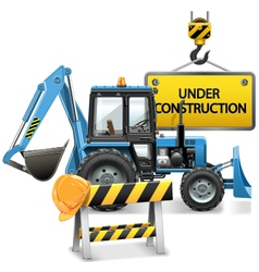 Under Construction Concept with Tractor vector