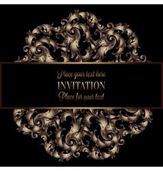 Vintage gold invitation or wedding card on black vector