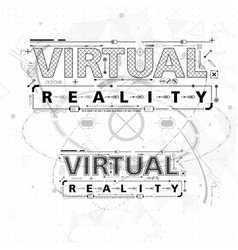 Virtual reality lettering with futuristic user vector