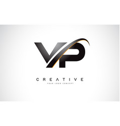 vp v p swoosh letter logo design with modern vector image
