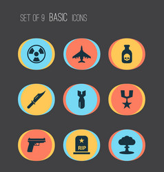Warfare icons set collection of weapons rip vector