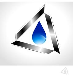 Water Drop Design in Metal Triangle vector image