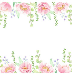 watercolor pink peony flower bouquet square vector image