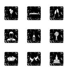 Wedding ceremony icons set grunge style vector