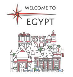 welcome to egypt poster in linear style vector image