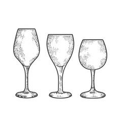 wine glasses sketch vector image