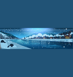 winter landscape night in small village on vector image