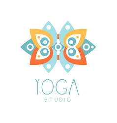 Yoga studio logo symbol health and beauty care vector