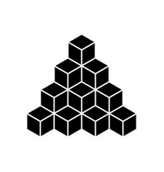 black pyramid of cubes flat vector image vector image