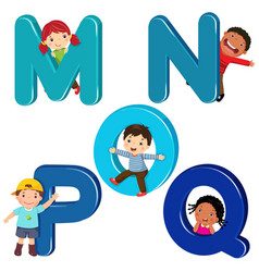 cartoon kids with mnopq letters vector image vector image
