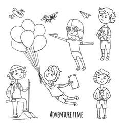 little travelers around the world vector image