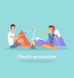 people on vacation flat design web banner vector image vector image