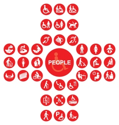 Red disability and people Icon collection vector image