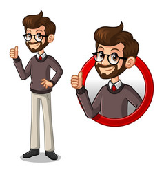 set of hipster businessman inside the circle logo vector image vector image