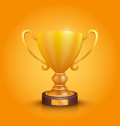 winner cup gold sign object on a orange vector image