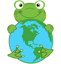 Happy Frog Hugging Planet Earth vector image vector image