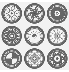 Motorcycle wheel icons vector image