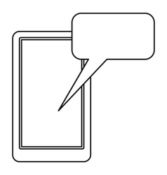 Smartphone with bubble speech icon outline style vector