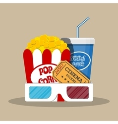 Retro movie set cinema items vector image