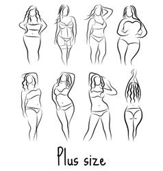 Set Girl silhouette sketch plus size model Curvy vector image