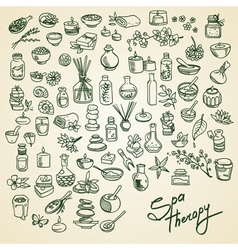 spa doodle icons set vector image vector image