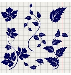 Branches and leaves ball pen sketch vector image vector image