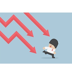 Businessman run away from falling graph Downtrend vector image vector image