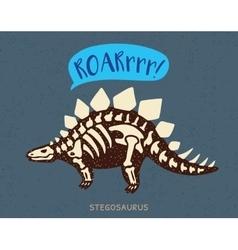 Cartoon stegosaurus dinosaur fossil vector image vector image