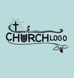 church logo with cross and leaves in black color vector image