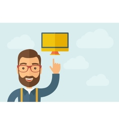 Man pointing the monitor icon vector image