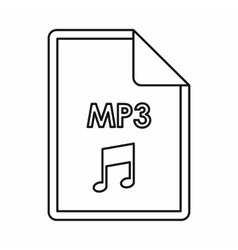 MP3 audio file extension icon outline style vector image vector image