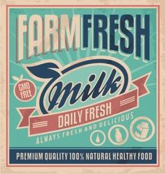 Retro farm fresh milk concept vector image vector image