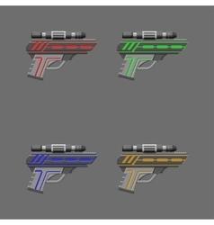 Video game weapon pistols set vector