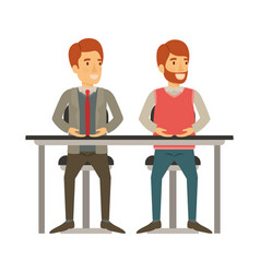 white background with men sitting in desk one with vector image