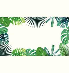 4k green tropical frame wallpaper white background vector