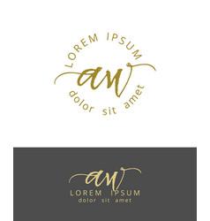 A w initials monogram logo design dry brush vector