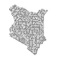 abstract schematic map of kenya from the black vector image