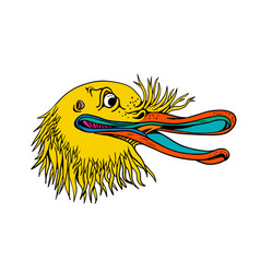 Aggressive kiwi bird graffiti color vector