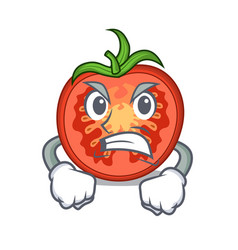 angry cartoon fresh tomato slices for cooking vector image